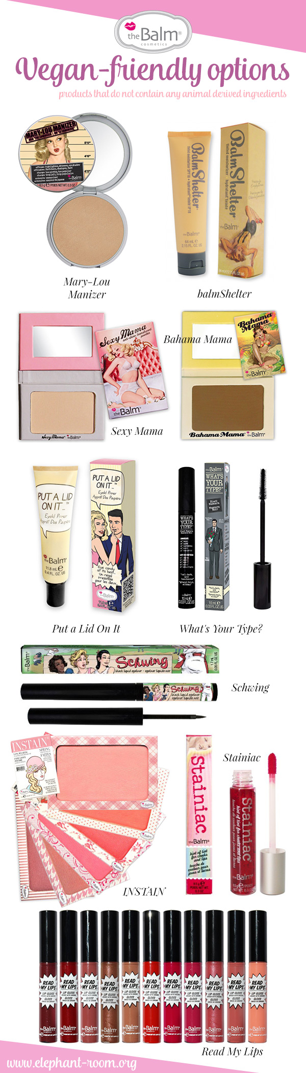 theBalm Cosmetics - Vegan friendly options!