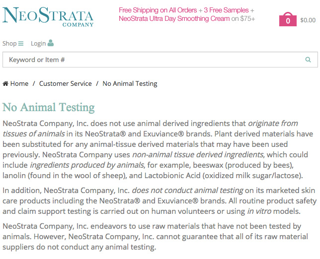 NeoStrata Animal Testing Policy - US