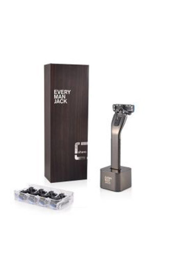 Every Man Jack Vegan Razor and 4 Cartridges with Stand Black
