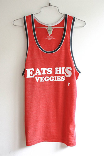 Eats His Veggies Ringer Tank - Red [Benefit for Vegan Outreach]