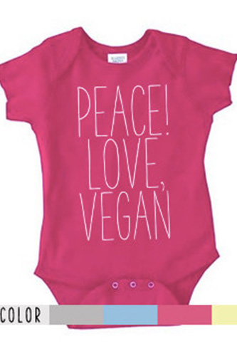 Peace Love, Vegan Bodysuit or Tee