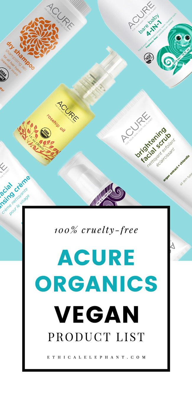 Acure Organics Vegan Product List