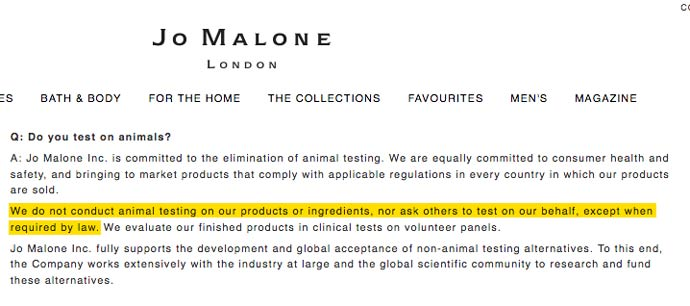 Jo Malone's Animal Testing Statement (2017)