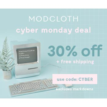 ModCloth Cyber Monday Deal 30% off