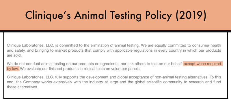 Clinique's Animal Testing Policy in 2019