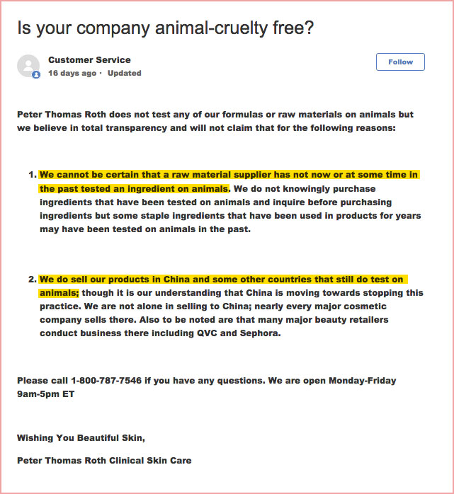 Does Peter Thomas Roth Test on Animals? | Animal Testing