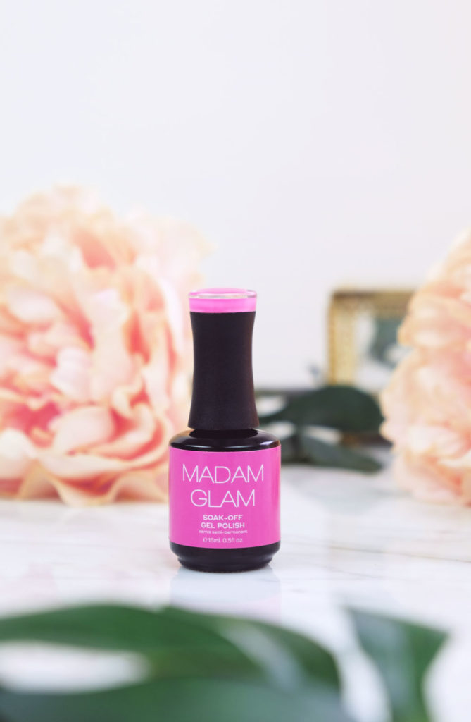 Madam Glam Soak-Off Gel Polish - Floris - a bright fuschia pink color.