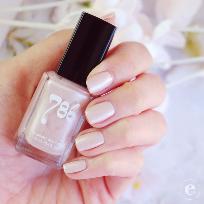 786 Nail Polish in Casablanca is a light pink color with a pearly shimmer finish.