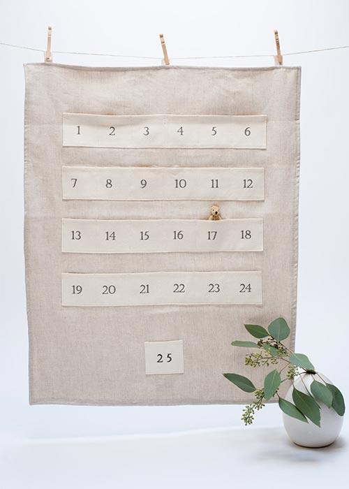 handmade linen & eco hemp advent calendar
