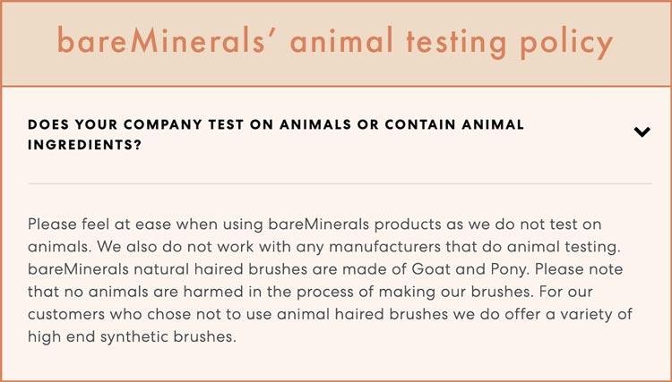 bareMinerals' animal testing policy