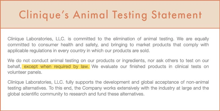 Clinique Animal Testing Statement