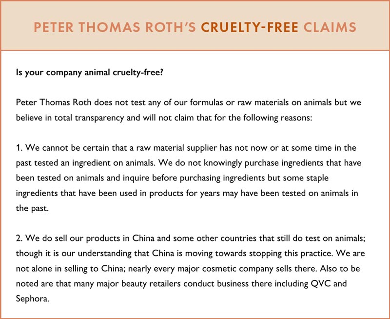 Peter Thomas Roth Cruelty-Free Claims
