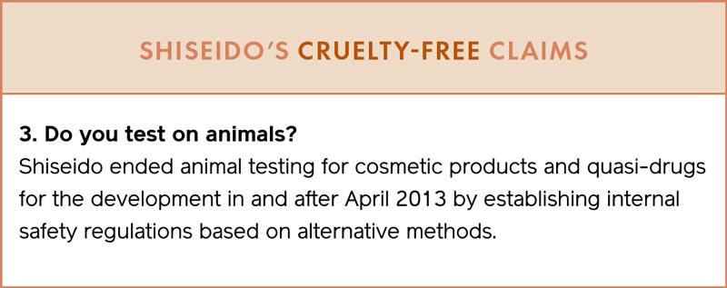 SHISEIDO's Cruelty-Free Claims