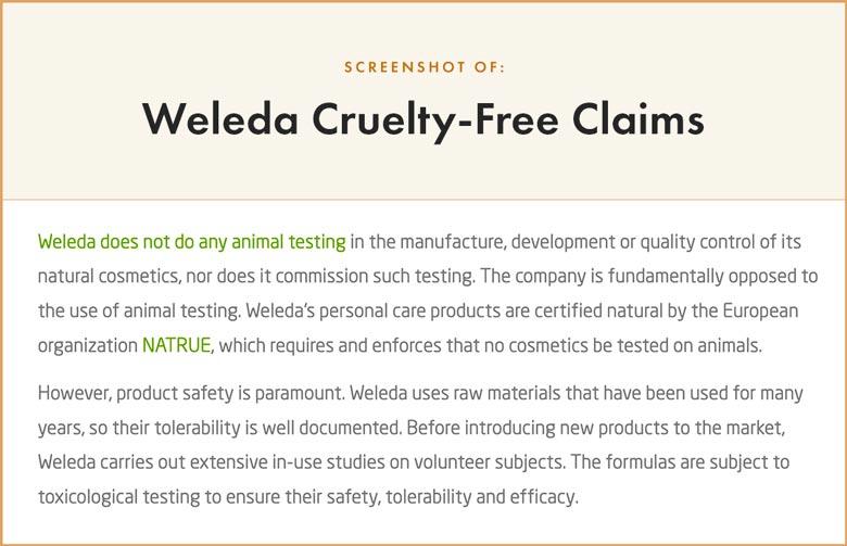Weleda Cruelty-Free Claims