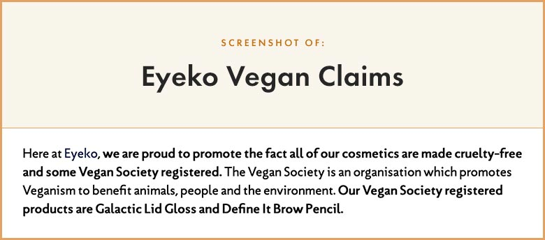 Eyeko Vegan Claims