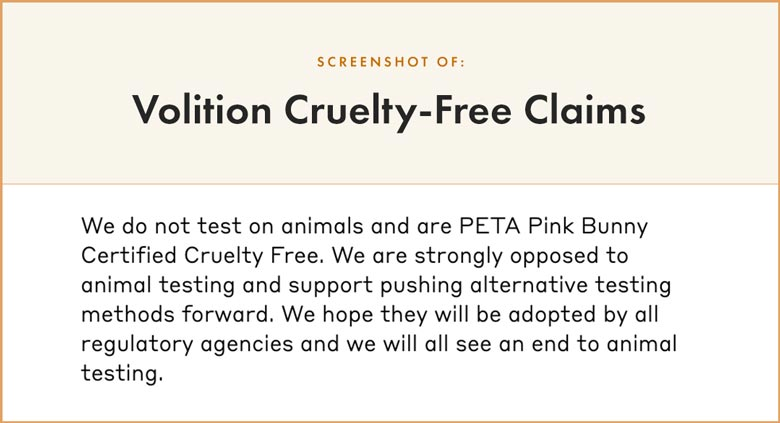 Volition Cruelty-Free Claims