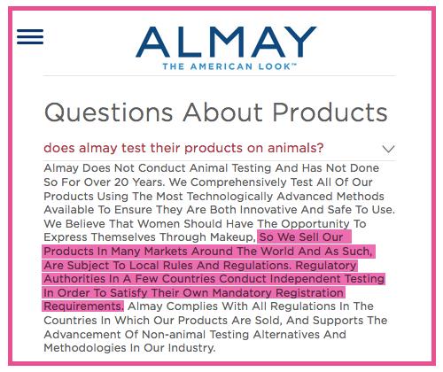 Almay Animal Testing Policy