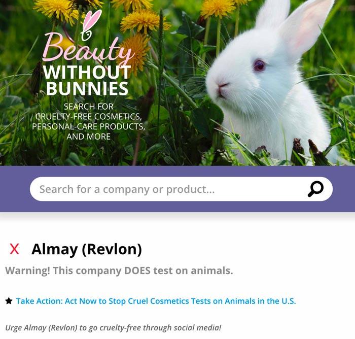 Almay on PETA Blacklist of Companies that DO test on animals