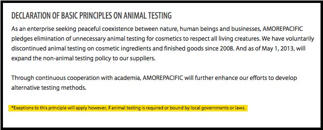 Amorepacific Cruelty-Free Claims