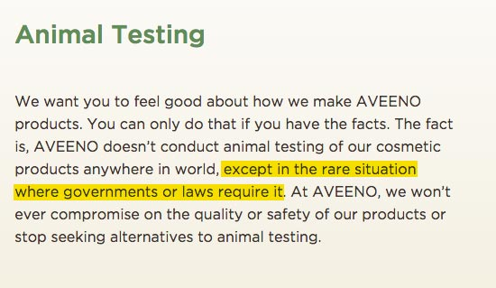 Aveeno Cruelty-Free Claims