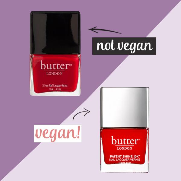 Butter London Regular Nail Polish Not Vegan. Only its Patent Nail Lacquers are Vegan.