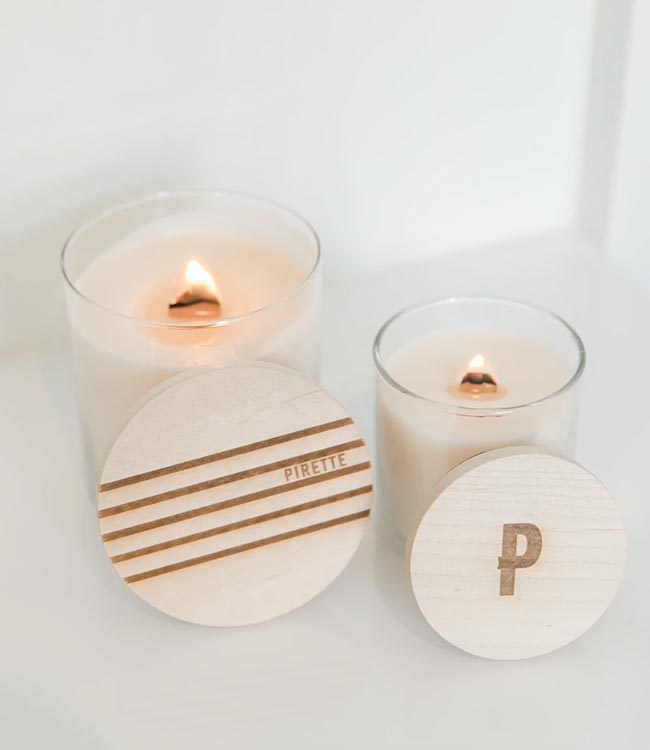 PIRETTE Wooden Wick Candles