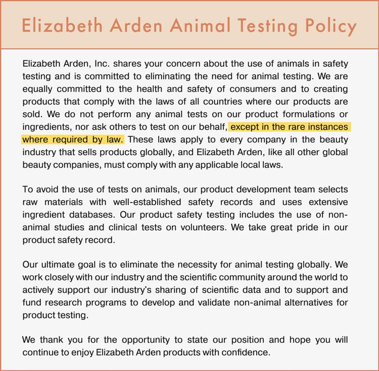 Elizabeth Arden Cruelty-Free Claims