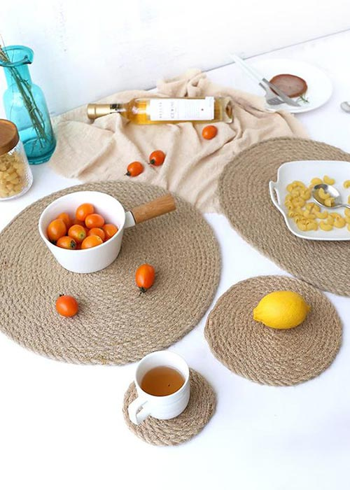 handmade table mats made from flat, an eco-friendly and natural material