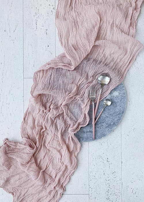 rustic hand-dyed cotton cheesecloth table runner
