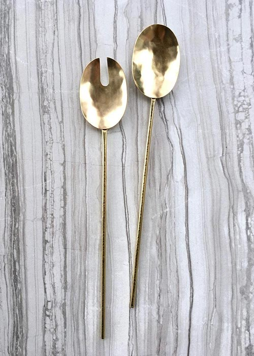 handmade brass serving spoon and fork set with hammered details on 6 gauge wire handles.