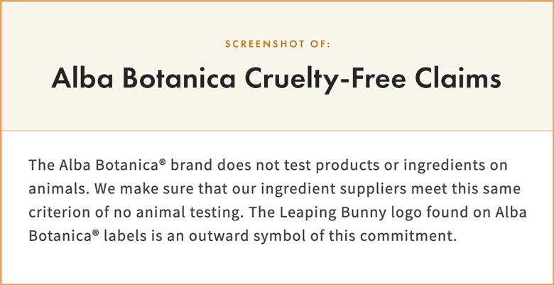 Alba Botanica Cruelty-Free Claims