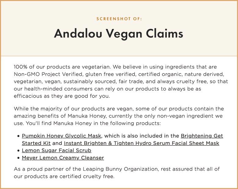 Andalou Vegan Claims