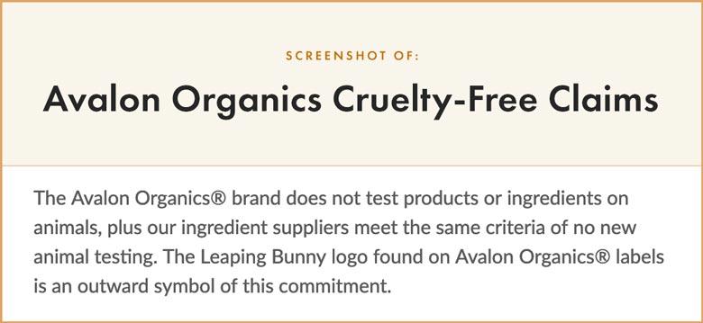 Avalon Organics Cruelty-Free Claims