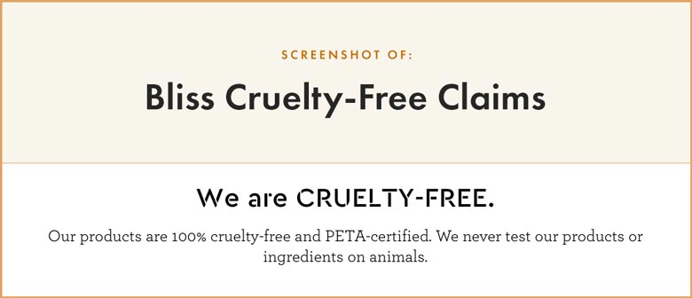 Bliss Cruelty-Free Claims
