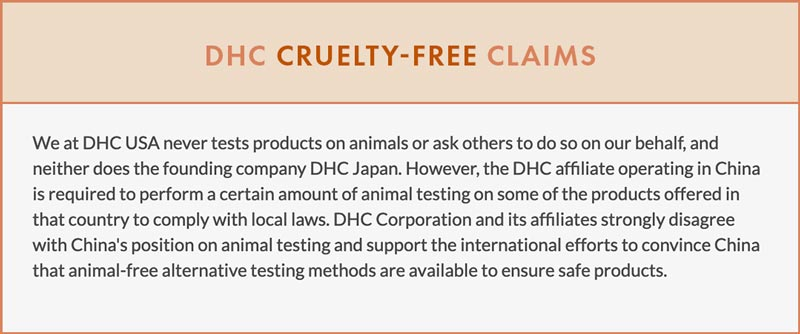 DHC Cruelty-Free Claims