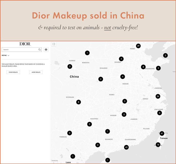 Dior Makeup sold in stores in China, required to test on animals