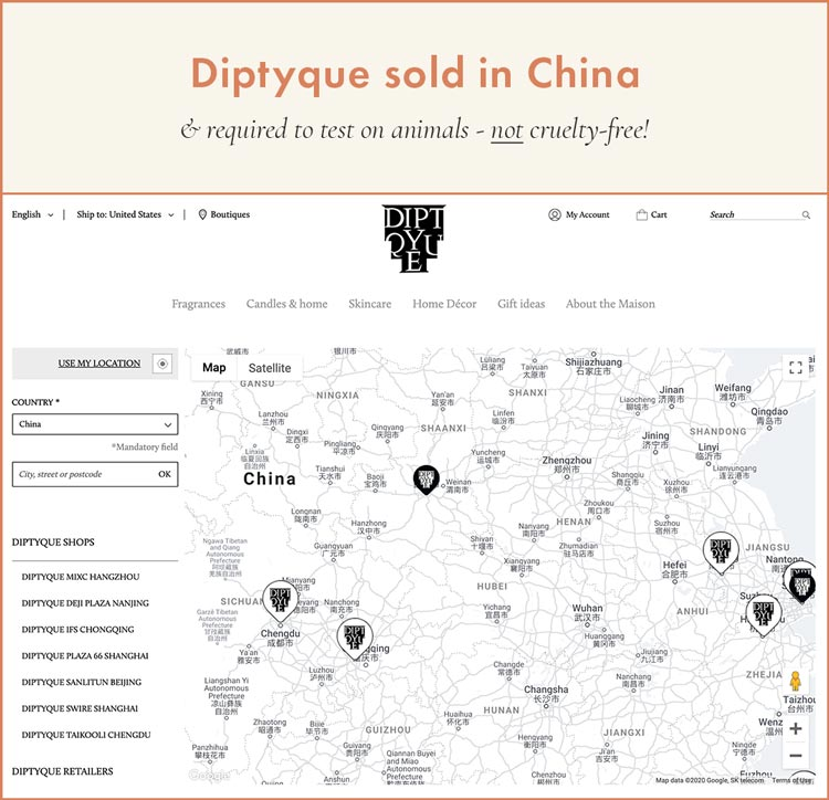 Diptyque sold in China - required to test on animals and NOT cruelty-free