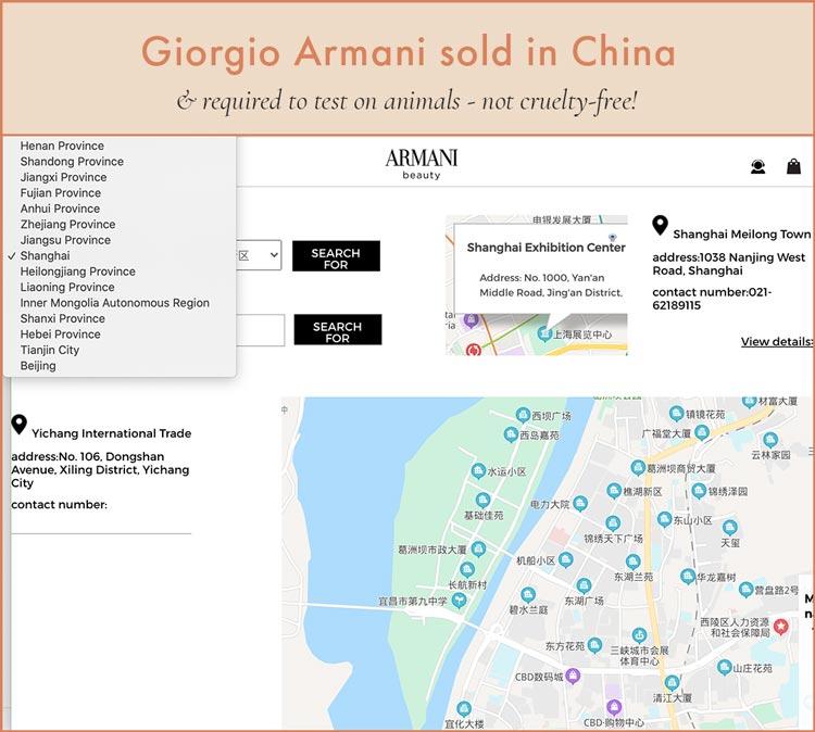 Giorgio Armani Store Locations in China - Not Cruelty-Free!