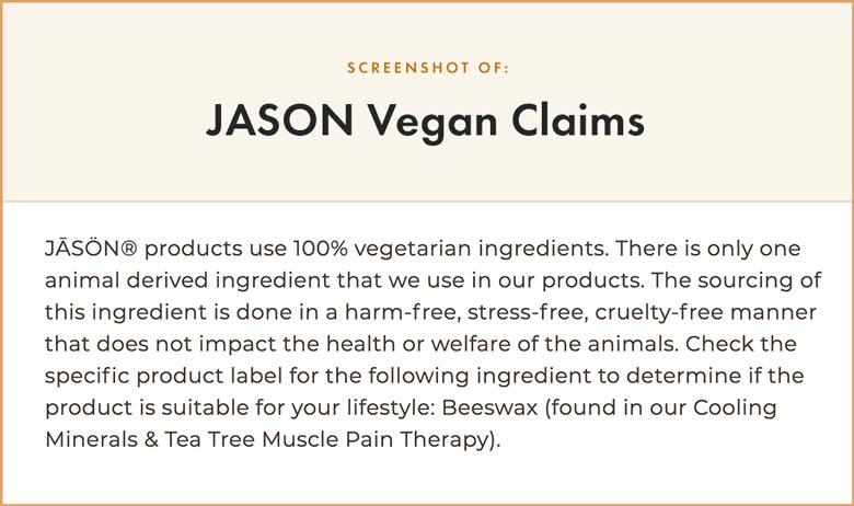 JASON Vegan Claims