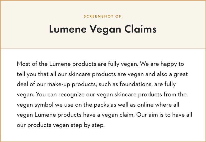 Lumene Vegan Claims