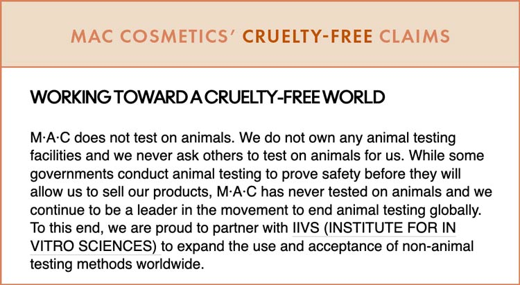 MAC Cosmetics Cruelty-Free Claims