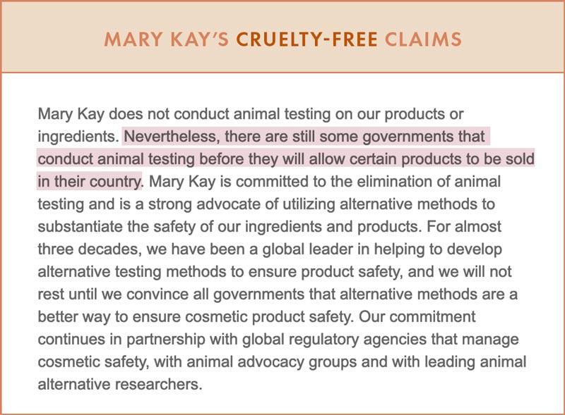 Mary Kay Cruelty-Free Claims