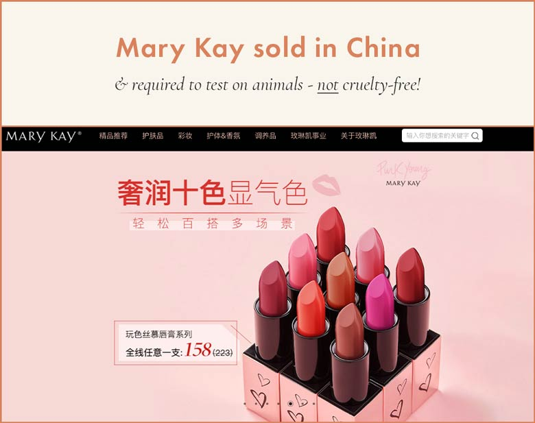 Mary Kay Sold in China; Required to Test on Animals and Cannot Be Cruelty-Free
