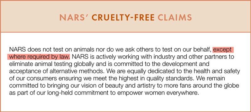 Nars Cruelty-Free Claims