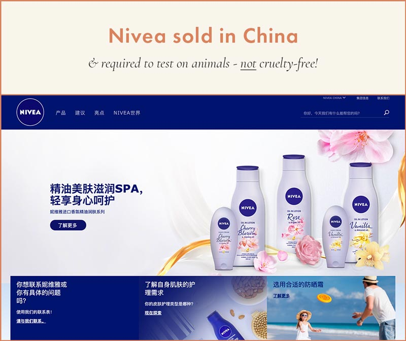 Nivea sold in China, cannot be Cruelty-Free