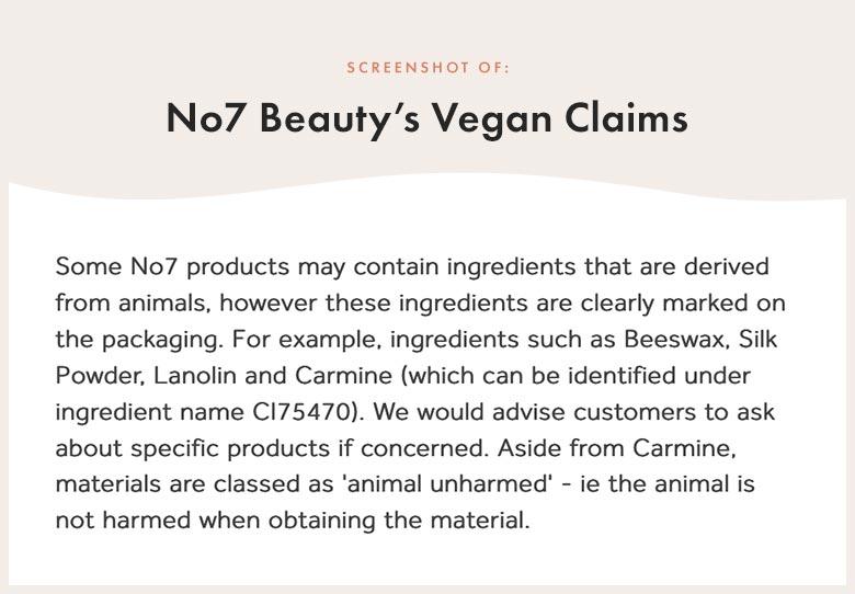 No7 Beauty's Vegan Claims