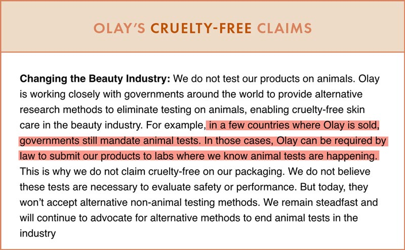 Olay Cruelty-Free Claims