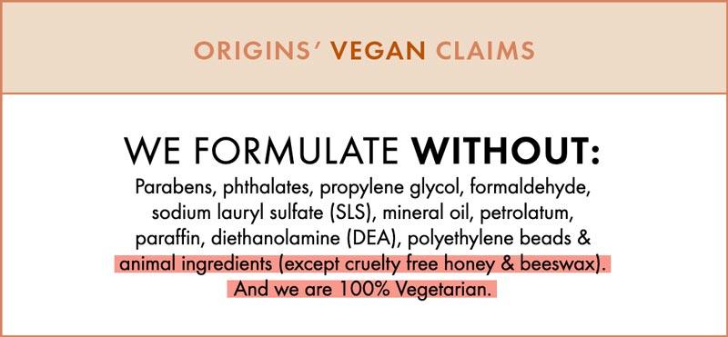Origins vegan product claims but Origins it not even cruelty-free