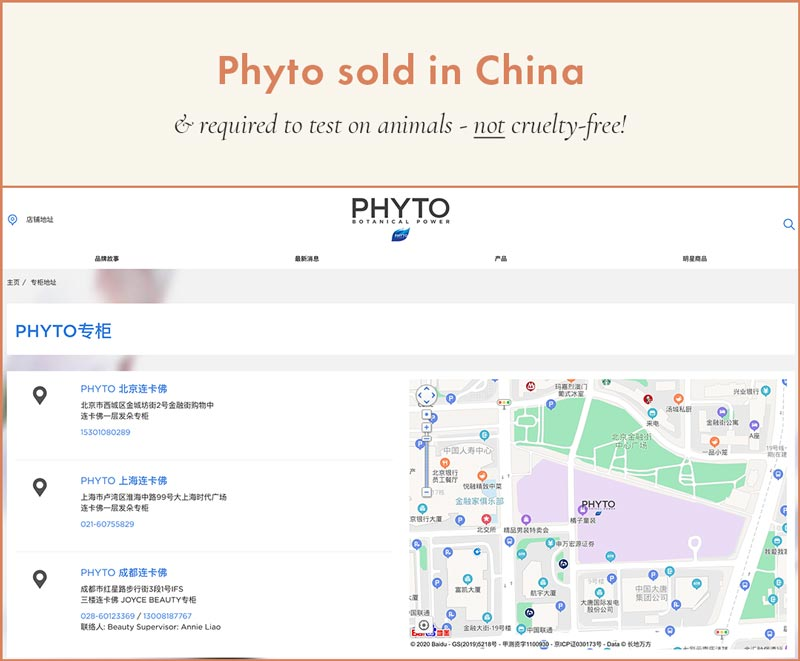 Phyto sold in stores in mainland China; cannot be cruelty-free!
