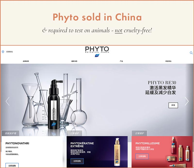 Phyto Sold in China; required to test on animals, therefore cannot be cruelty-free